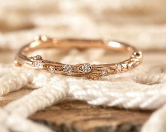 Twig ring with scattered diamonds in 14kt gold