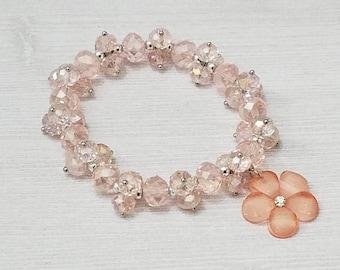 Flower Bracelet Flower Charm Bracelet Pink Bracelet Pink Flower Charm Pink Beaded Stretch Bracelet for Girl Easter Gift Birthday Gift