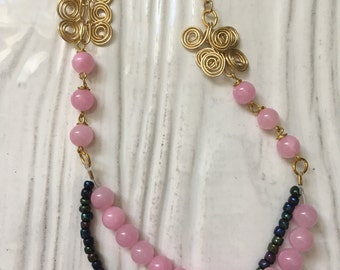 Pink and Gold Beaded Necklace, Beads and Gold Chain Necklace
