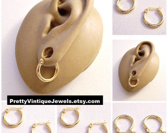 "Monet 5/8"" Hoops Pierced Post Stud Earrings Gold Tone Vintage Small Stainless Steel Nickel Free Round Thick Tube Rings"