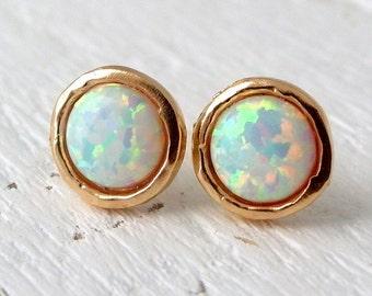 White Opal earrings,White Opal stud earrings,Opal studs,Opal stud earrings, Gold / silver studs, October birthstone earrings, opal studs