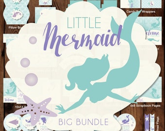 Little Mermaid Printable Party, Little Mermaid Party Package, Mermaid Party Decorations, Little Mermaids Printables, Under the Sea Party
