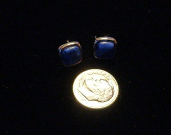 Blue lapis and silver square stud earrings