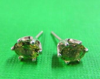 Apatite Post Earrings - Beautiful Oval Green Apatite Gemstone Earrings - Sterling Silver Post Earrings