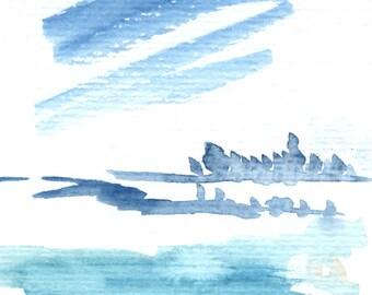 Original watercolor small landscape II
