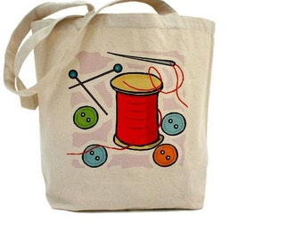 Sewing Bag - Cotton Canvas Tote Bag - CRAFT BAG