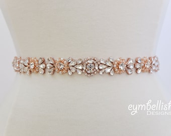 Full Length Rose Gold and Pearl Bridal Belt- All the Way Around Thin Rhinestone Belt with Clasp Closure- pearl Wedding Belt- rose gold B041