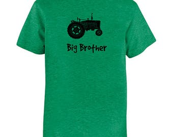 Big Brother Shirt - Multiple Colors Available - Kids Big Brother Tractor - Gift Friendly - PolyCotton Blended Fun Boys Tee