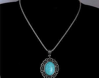 vIntage Turquoise Stone Bohemia Women's Pendant Necklace