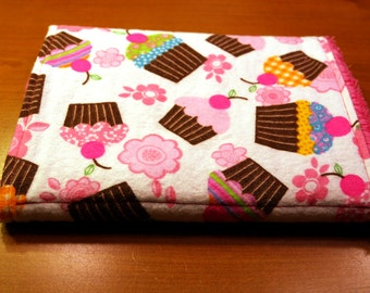 Burp Cloth - Multi color Pink and Chocolate Cupcakes - Flannel and Chenille Burpie