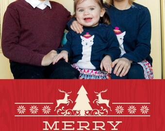 Merry Christmas Woodgrain Printable 5x7 Christmas Card with Photos