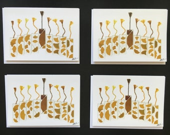 "Set of 4 Cards - Large ""Gingko Menorah"" Card Prints"
