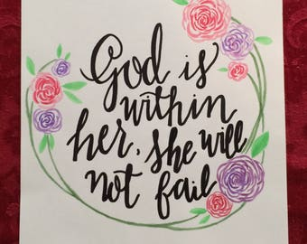 God is within her, she will not fail // Psalm 46:5 //watercolor flowers // calligraphy // hand-painted