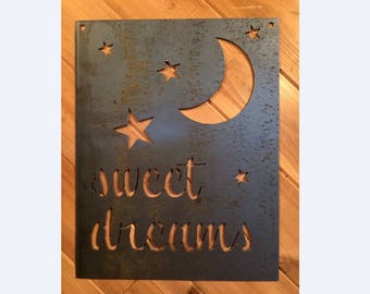 Rustic Metal Nursery Sweet Dreams Stars and Moon Sign - Metal Wall Art By PrecisionCut on Etsy