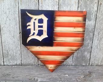Wood Flag, Charred, Vintage Tigers Sign, Wood Tigers Flag, Rustic Tigers Flag, Home Plate Flag, Detroit Tigers