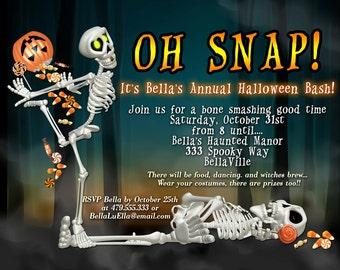 Halloween Party Invitation, Halloween Skeleton Invitation