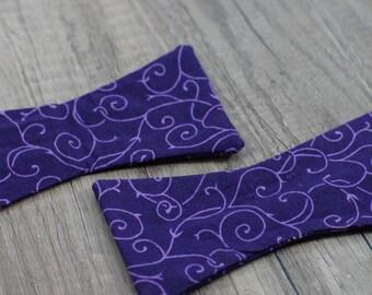 Handmade bow tie purple floral self tie freestyle colorful cotton bowtie