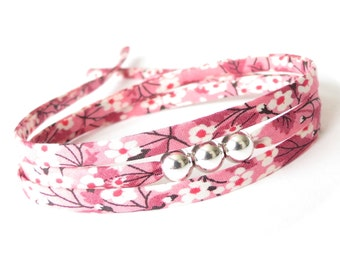 Valentine's gift for tween girls, pretty pink and white bracelet with silver beads and Liberty fabric, cute jewellery for girls