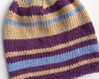 Cottonknit Hat for Sprig and Summer. Maroon, Tan, and Blue. Handknit, One of a Kind.