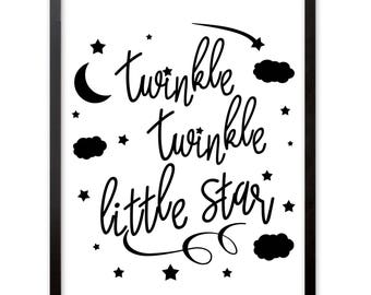 "Children's room art print, poster with slogan ""Twinkle Twinkle Little Star"" in minimalist black and white design, deco print poster DINA4"