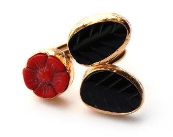 Red Coral Rose with Black Onyx Leaves Ring, big flower ring, red coral, black leaves onyx carved stone, red rose, statement ring