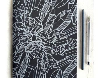 Silver Crystal Journal, Handmade Sketchbook, Blank Notebook, Art Notebook, boho gift, bohemian gift, gift for crystal lover, gift for teen