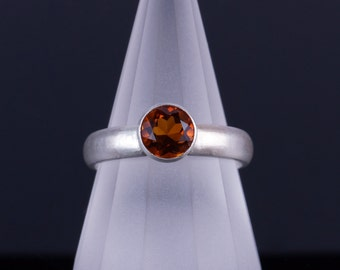 Golden Orange Citrine 6mm Round Bezel Sterling Silver Ring