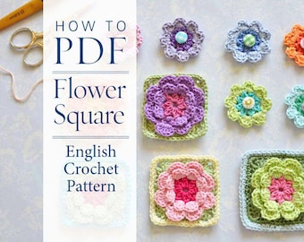 Crochet Pattern Flower Square pattern - ready for immediate download - by CrochetObjet