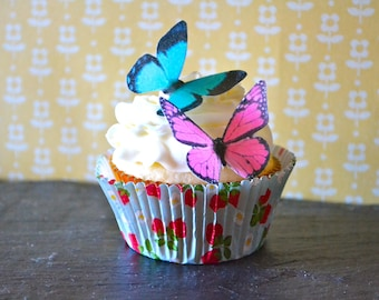 Wedding Cake Topper EDIBLE Butterflies - Hot Pink and Turquoise Edible Butterfly - Cake & Cupcake Toppers
