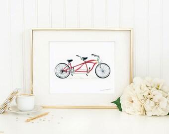 Bike Art Print by Michelle Mospens - bicycle paintings, bike wall art, tandem bike art, bicycle built for two wall art