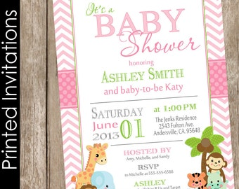 Printed Safari Baby Shower Invitation, safari, chevron, pink, green, jungle, typography (FREE ENVELOPES)