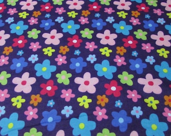 Flannel Fabric - Whimsy Flowers - By the yard - 100% Cotton Flannel