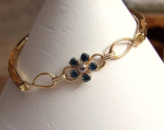 Infinity Gold Filled Bracelet Artisan Altered Authentic Vintage Expandable Stretch Bracelet Genuine Gemstone