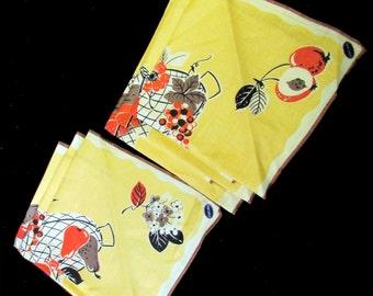 6 MCM linen napkins fruit basket design pure linen unused