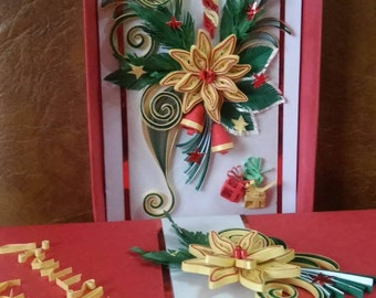 Christmas quilling card with box