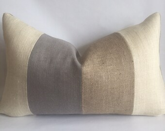 Cream, Light Gray and Natural Striped Lumbar Pillow Cover