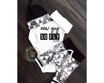 Newborn Baby boy coming home outfit New Guy So Fly black and gray triangle theme - boy going home set hello world, baby shower gift new baby