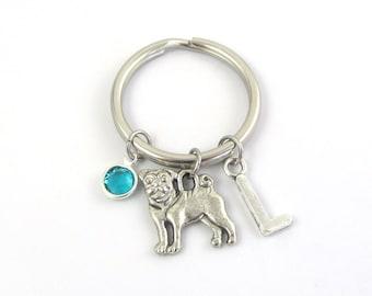 Pug Keychain- choose a birthstone and initial, Pug Keyring, Pug Gift, Dog Keychain Pug Charm, Pug Dog Keychain, Pug Dog Gift, Dog Keyring