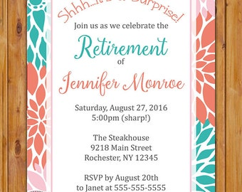 Flowers Surprise Retirement Party Celebration Invitation Teal Coral Pink Floral Burst 5x7 Digital JPG DIY Printable (448)