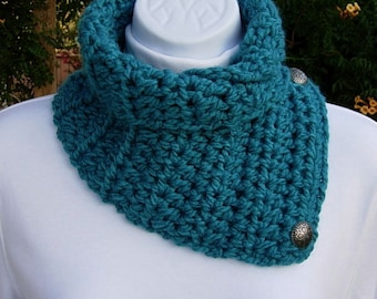 NECK WARMER SCARF Solid Turquoise Teal Blue, Soft Crochet Knit Buttoned Handmade Winter Cowl Lightweight Scarflette..Ready to Ship in 2 Days
