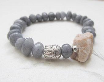Buddha bracelet, yoga bracelet, raw gemstome bracelet, moonstone bracelet, agate bracelet