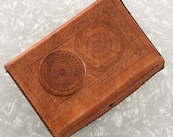 Leather Jewelry Box - Vintage Mexico Tooled Leather Case