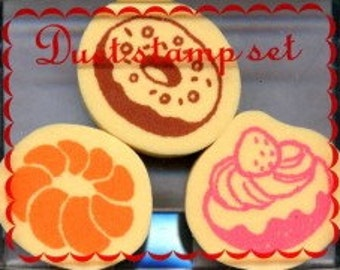 Set of 3 Yummy Doughtnut Japanese Rubber Stamps