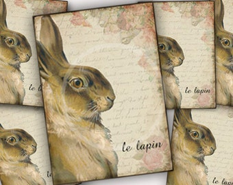 French Country Rabbit lapin, Printable Easter Tags, Bunny Digital Download, Digital Collage Sheet, Shabby chic Crafts, Easter scrapbook