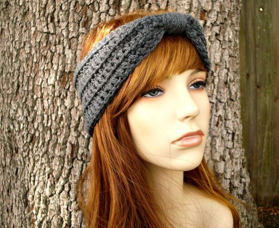 Womens Crochet Headband - Crochet Turban Headband Medium Charcoal Grey Headband - Grey Turban Womens Hair Accessories - Womens