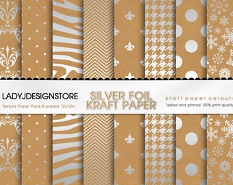 SILVER FOIL KRAFT Digital Papers - 8 Textures, Paper Pack, Instant Download, Christmas, printing, scrapbooking, chevron, damask, snowflakes