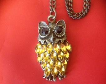 BRASS OWL PENDANT Bright Yellow Diamente Drops with a Brass Chain