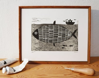 fish · original linocut · Limited Edition · DIN A5