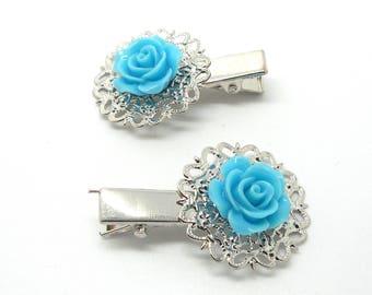 Fancy blue flower hair clip