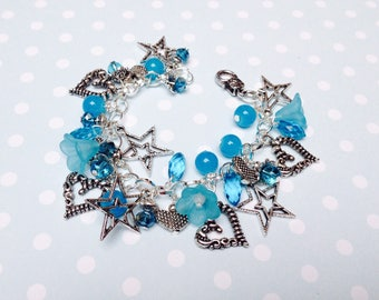 Bracelet charms, bracelet charms and beads, hearts, stars, turquoise beads
